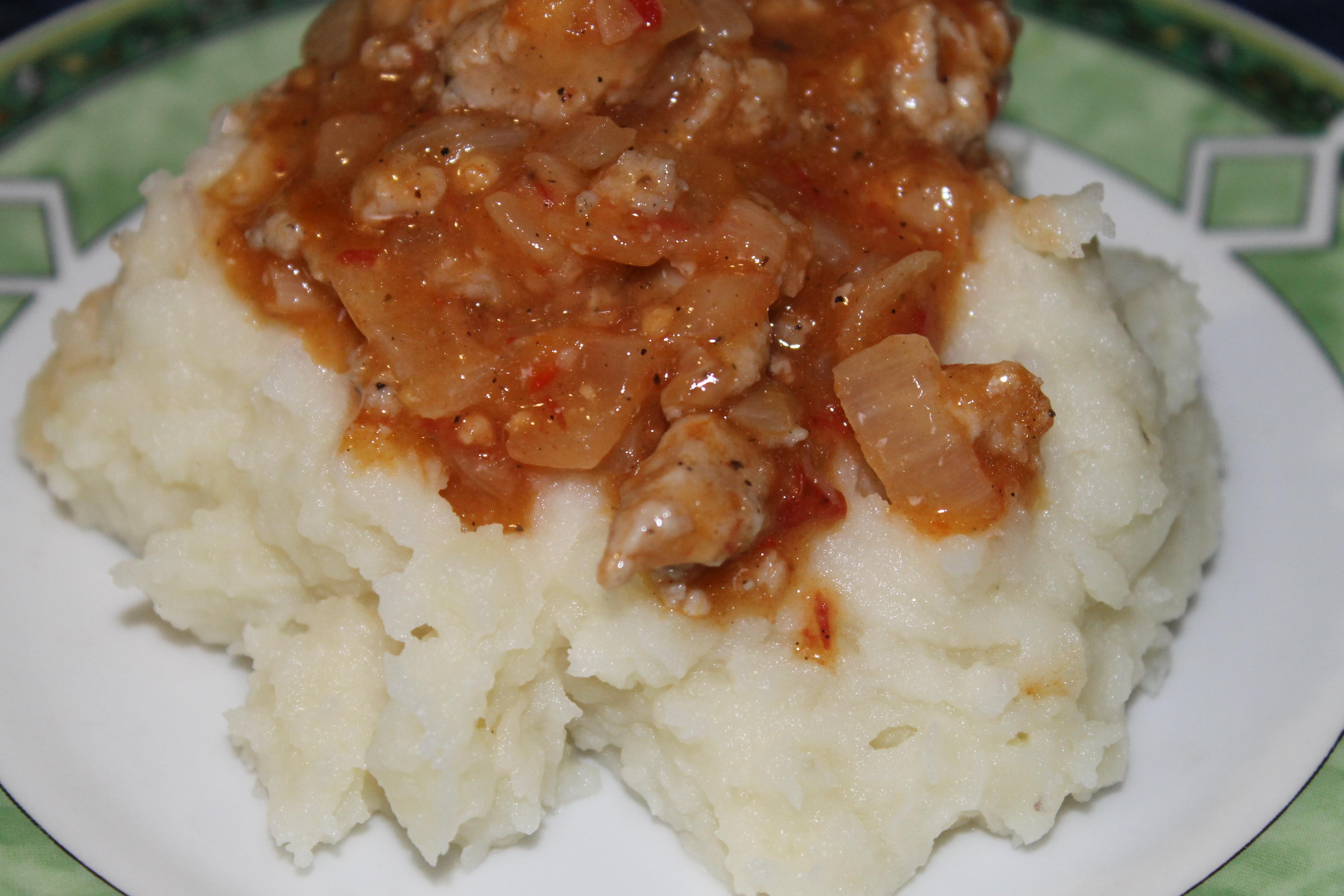 Картофельное пюре с мясной подливкой - Готовим вместе