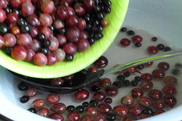 всыпать ягоды в сироп