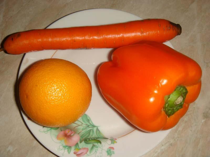 апельсины и овощи помыть