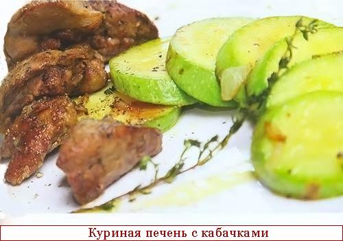 Куриная печень с кабачками рецепт