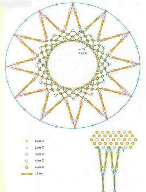 Схема сеточки из бисера - правый шар