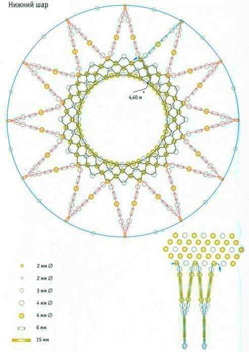Схема плетения сеточки для нижнего шара