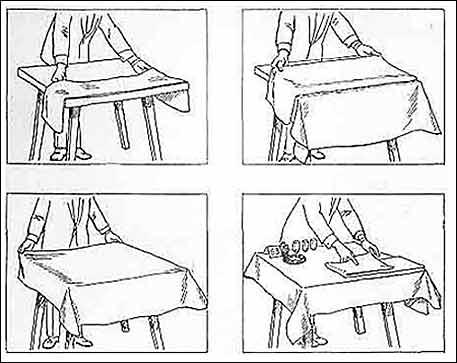 накрытие столов скатертями и их замена